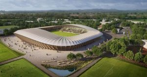 stadio-Forest-Green-Rovers rendering. Primo stadio completamente in legno